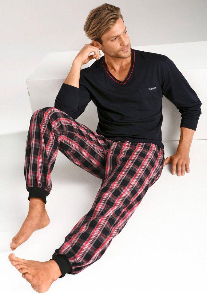 Bench Pyjama mit gewebter Hose in Karomuster in schwarz-kariert