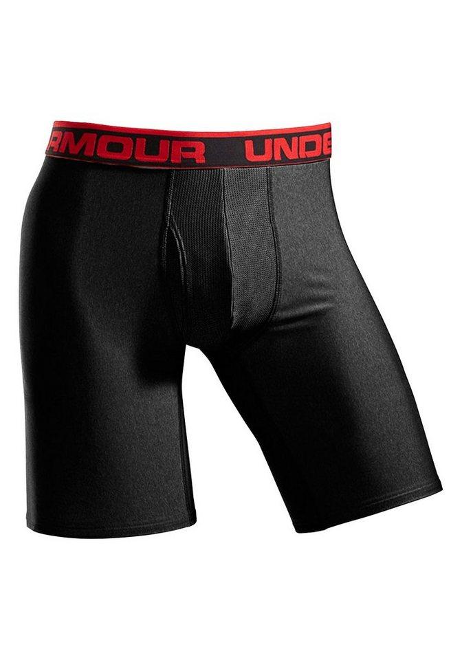Under Armour Longboxer mit längerem Bein und rotem Logoschriftzug am Bund in 1x schwarz