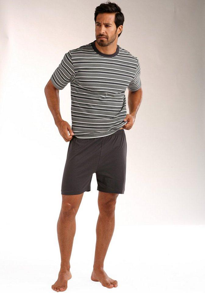Le Jogger Shorty, in kurzer Form, Oberteil mit gedruckten Streifen, aus reiner Baumwolle in dunkelgrau-creme