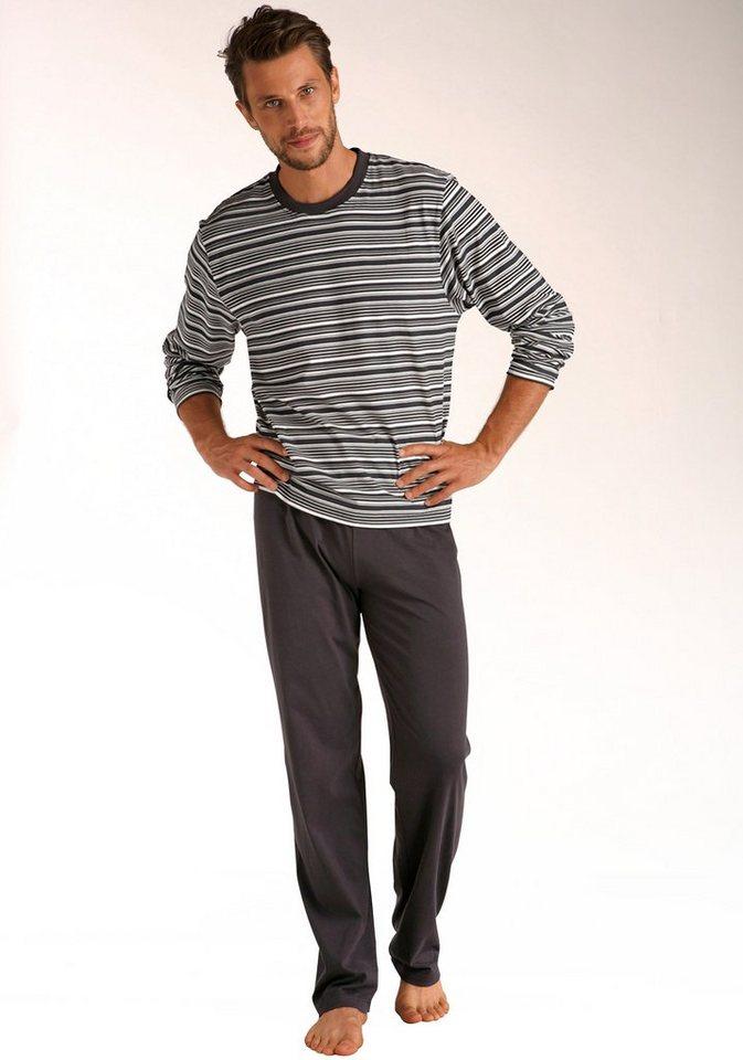 Le Jogger Pyjama, in langer Form, Oberteil mit gedruckten Streifen, aus reiner Baumwolle in dunkelgrau-creme