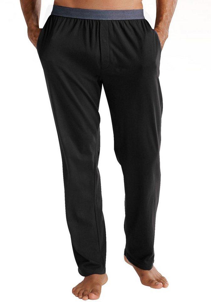 Le Jogger Relaxhose, zum Schlafen und Wohlfühlen, mit weichem Webbund in Jeans-Optik in schwarz