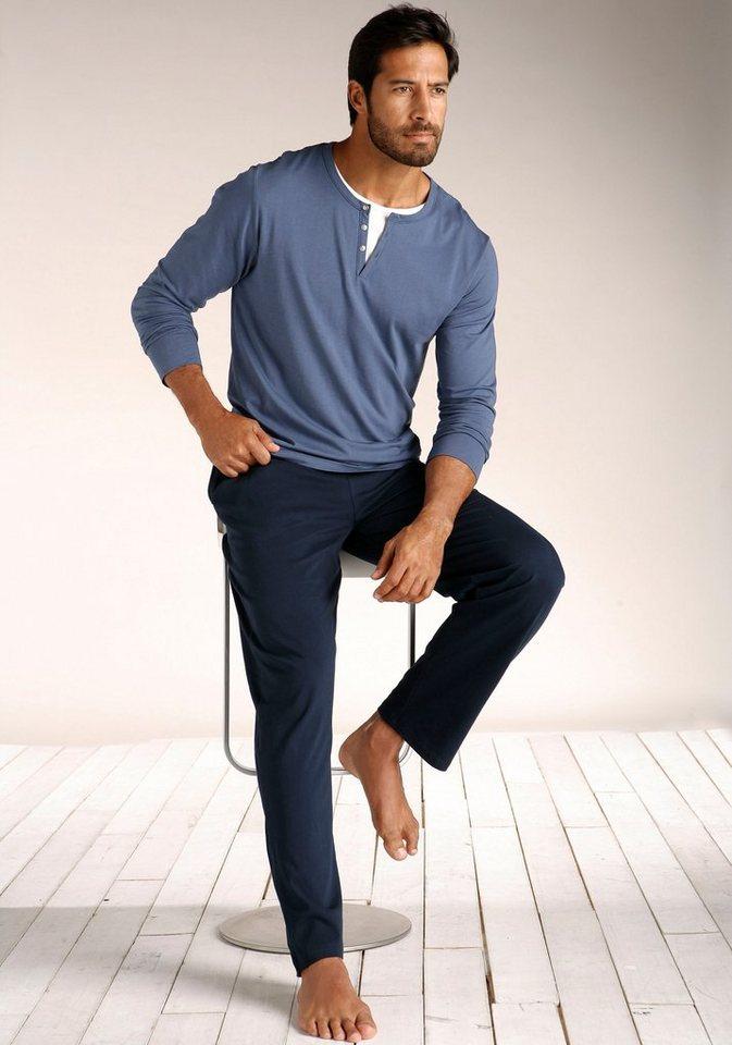 s.Oliver RED LABEL Bodywear langer Pyjama in Layeroptik in blau-marine
