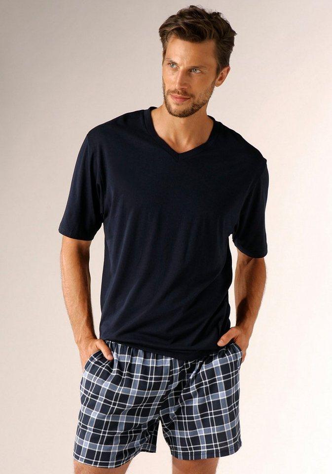 s.Oliver RED LABEL Bodywear Shorty mit seitlichen Eingrifftaschen in marine-blau kariert