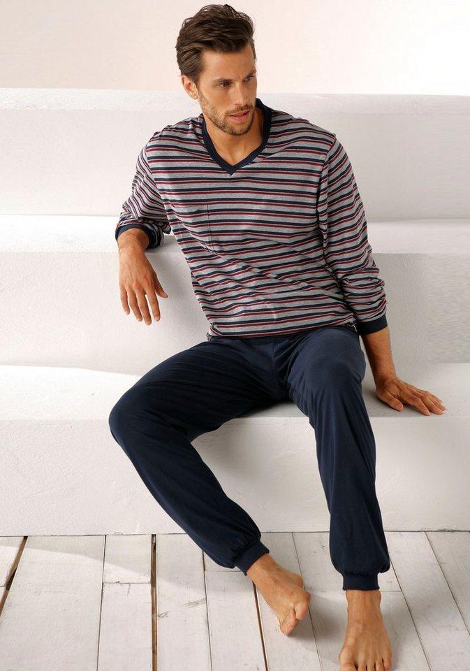 Seidensticker Pyjama, Oberteil mit V-Ausschnitt und garngefärbten Streifen, Top Markenqualität in gestreift-marine