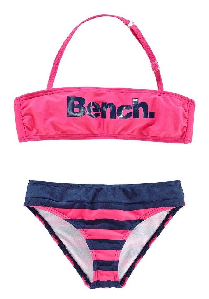 Bandeau-Bikini, Bench in pink-marine