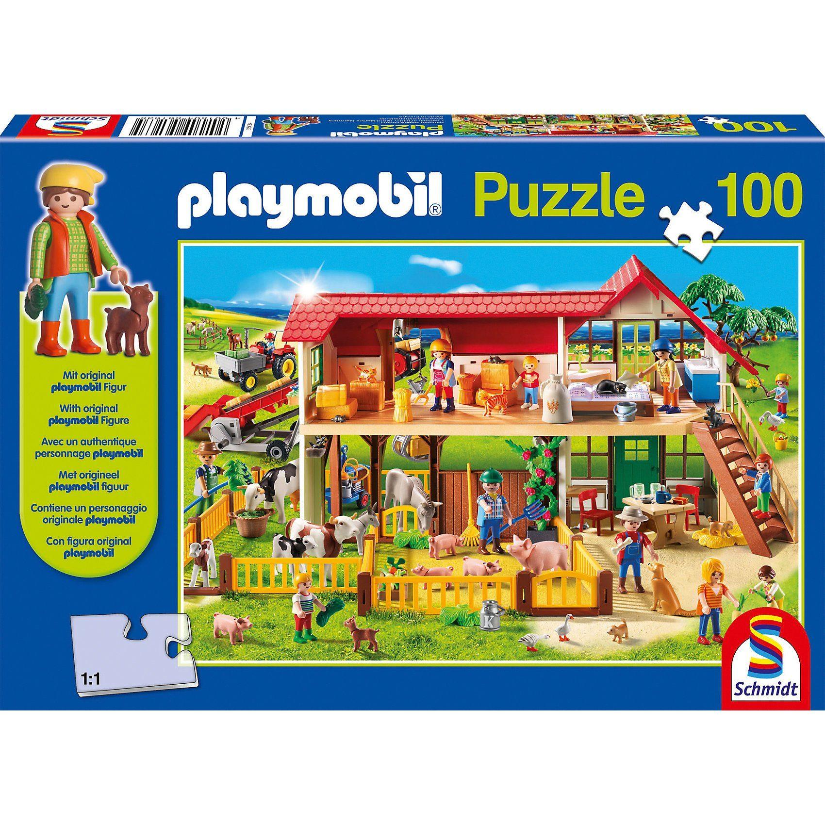 Schmidt Spiele Puzzle Playmobil (inkl. Figur), Bauernhof, 100 Teile