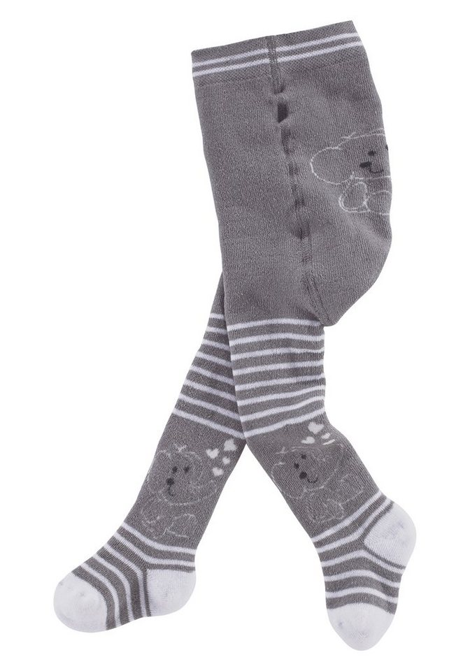 Jacob's Babymoden Thermostrumpfhose in grau-wollweiß