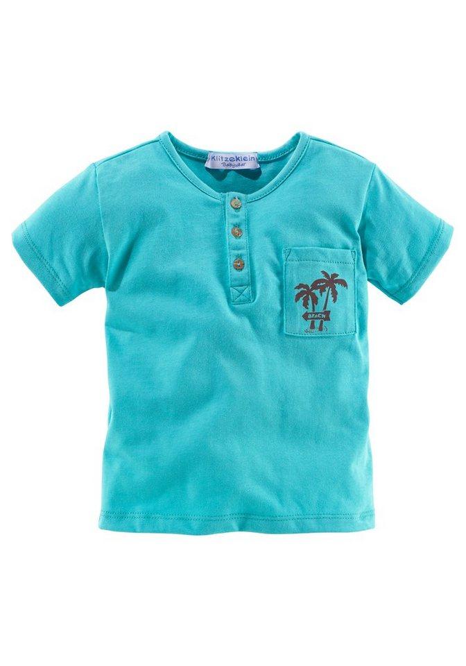 Klitzeklein T-Shirt mit Knopfleiste und kleiner Brusttasche in türkis