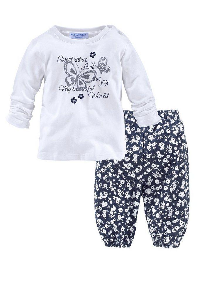 Klitzeklein Shirt & Hose (Set, 2 tlg.) in weiß+bedruckt