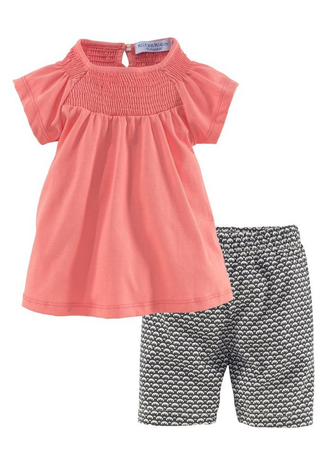 Klitzeklein Top & Shorts (Set, 2 tlg., 2er-Pack) in apricot+bedruckt