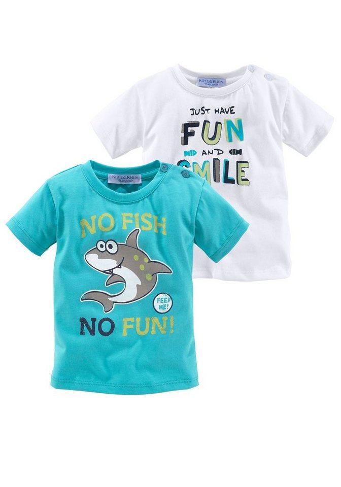 Klitzeklein T-Shirt (Packung, 2 tlg., 2er-Pack) in türkis+weiß