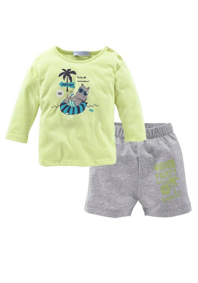 Klitzeklein Shirt & Hose in grün-grau-meliert