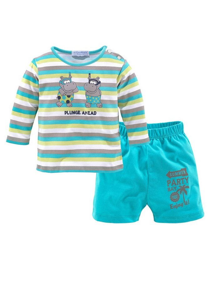 Klitzeklein Shirt & Hose (Set, 2 tlg., 2er-Pack) in bunt+türkis