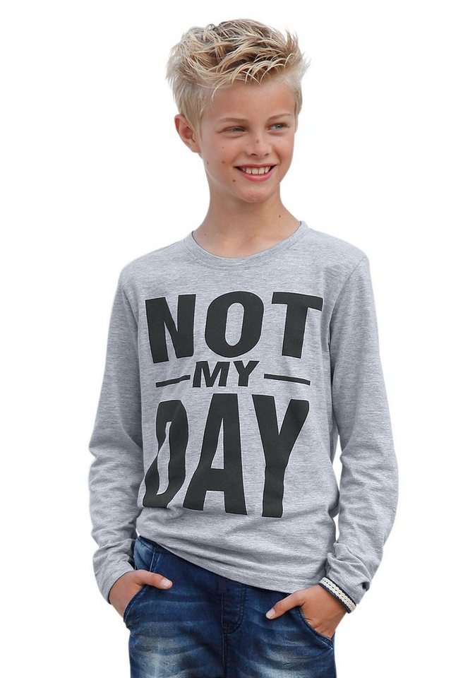 "KIDSWORLD Langarmshirt ""NOT MY DAY"" in grau-meliert"