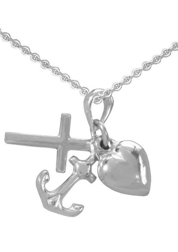 firetti Halsschmuck: Halskette »Glaube Liebe Hoffnung / Kreuz Herz Anker« in Ankerkettengliederung in Silber 925