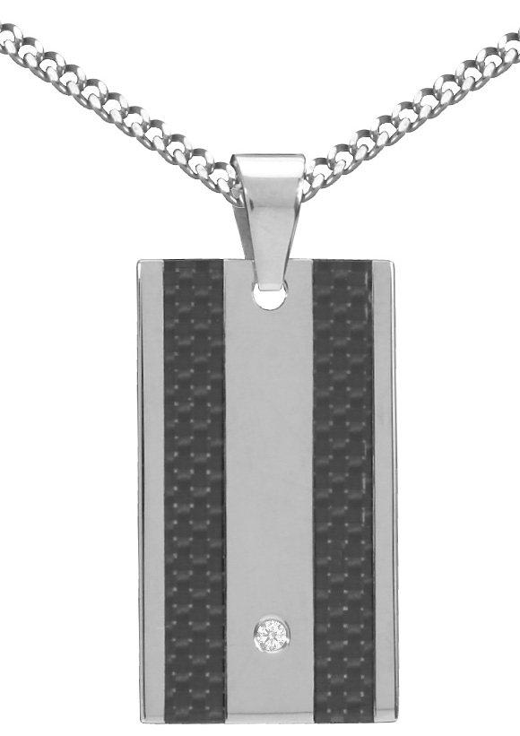 firetti Halsschmuck: Halskette in Panzerkettengliederung mit Zirkonia in silberfarben/grau/schwarz