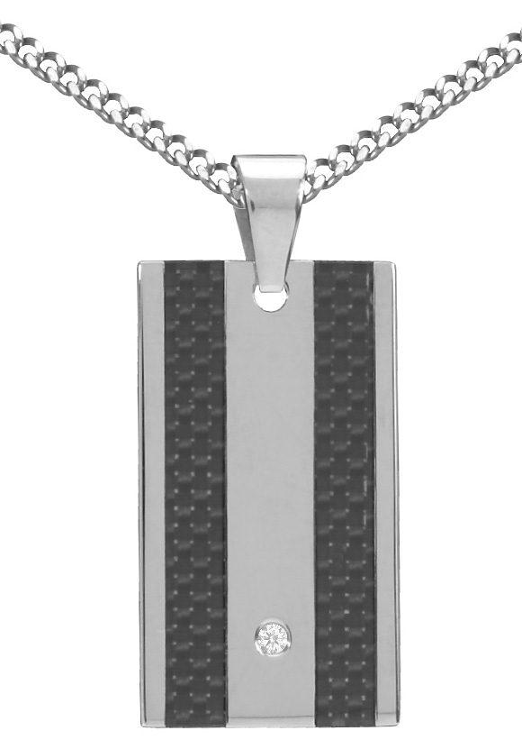 firetti Halsschmuck: Halskette in Panzerkettengliederung mit Zirkonia