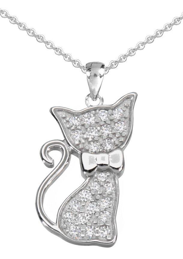 firetti Halsschmuck: Halskette »Katze« in Ankerkettengliederung mit Zirkonia in Silber 925
