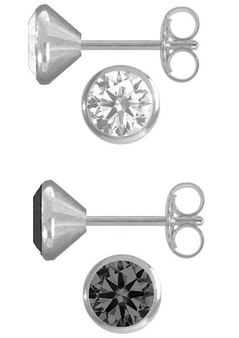 firetti Schmuckset: 2 Paar Ohrstecker rund mit Zirkonia (4tlg.) in Silber 925/schwarz/weiß