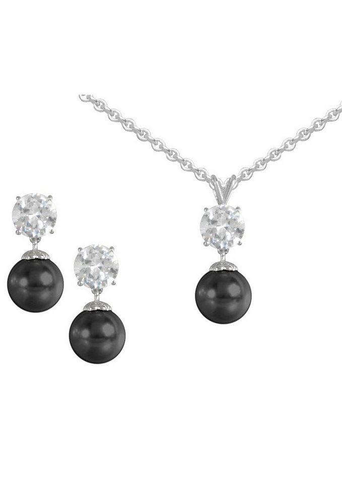 firetti Schmuckset: Ohrstecker und Halskette mit Perle und Zirkonia (4tlg.) in Silber 925/schwarz