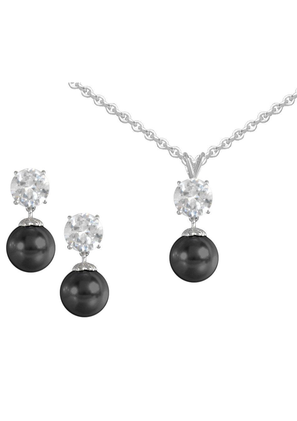 firetti Schmuckset: Ohrstecker und Halskette mit Perle und Zirkonia (4tlg.)