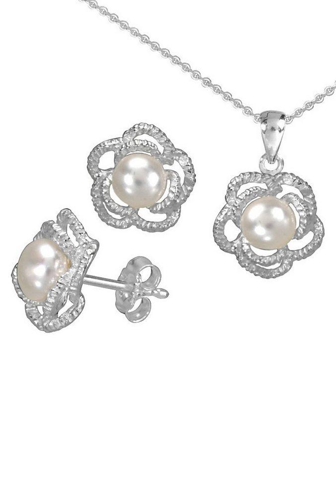 firetti Schmuckset: Ohrstecker und Halskette mit Perle (4tlg.) in Silber 925/weiß