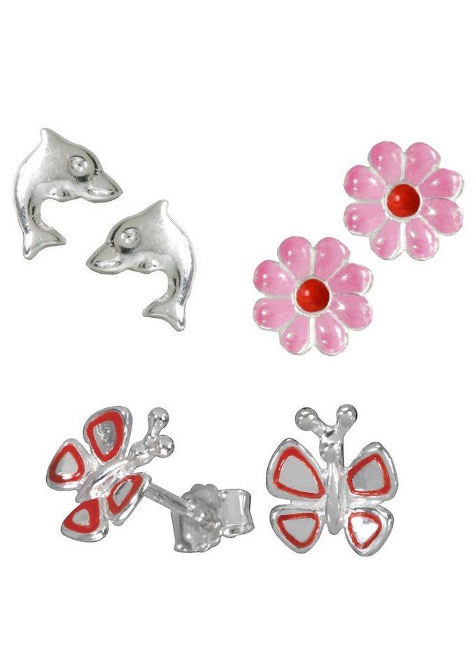 firetti Schmuckset 3 Paar Ohrstecker: Delfin, Blüte und Schmetterling (6tlg.) in Silber 925/rot/pink