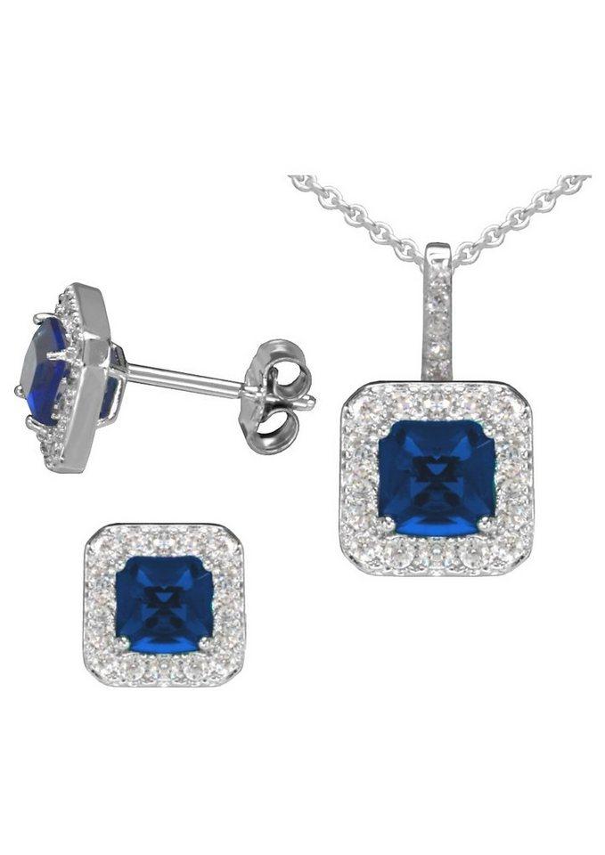 """firetti Schmuckset: Ohrstecker und Halskette """"Safir-Optik"""" (4tlg.) mit Glassteinen und Zirkonia in Silber 925/blau"""