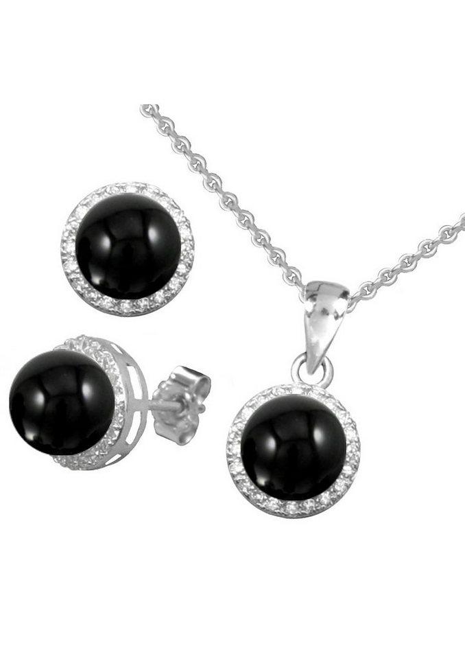 firetti Schmuckset: Ohrstecker und Halskette mit Onyx und Zirkonia (4tlg.) in Silber 925/schwarz