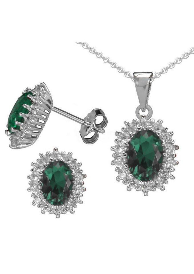 """firetti Schmuckset: Ohrstecker und Halskette """"Smaragd-Optik"""" (4tlg.) mit Glassteinen und Zirkonia in Silber 925/grün"""
