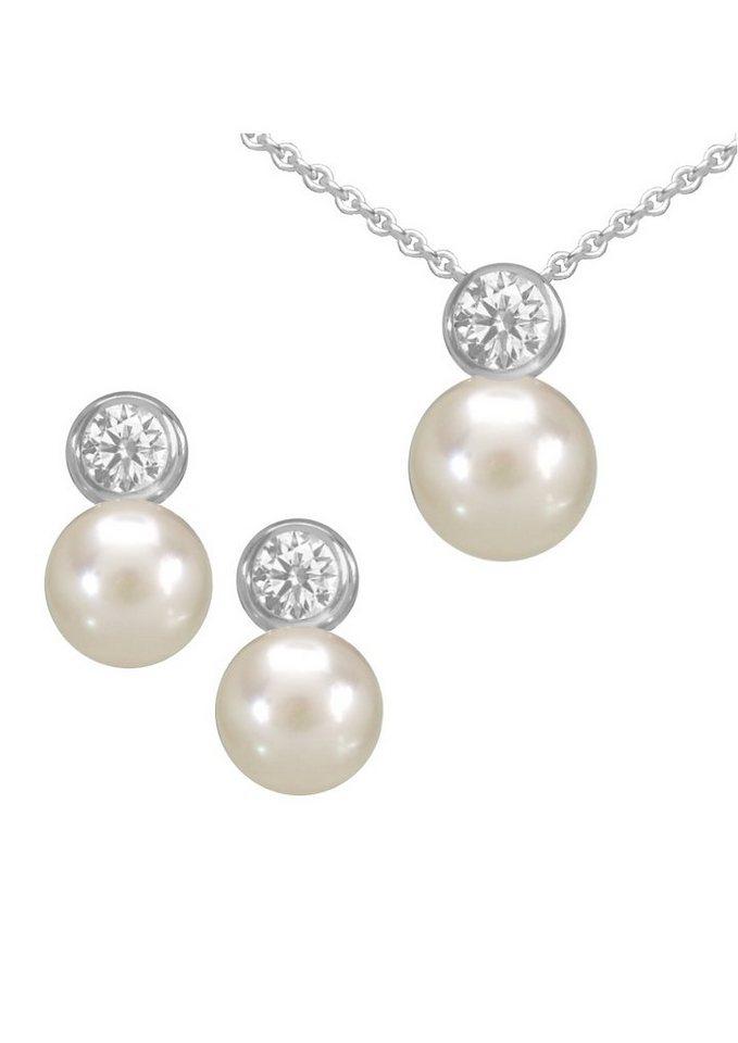 firetti Schmuckset: Ohrstecker und Halskette mit Perle und Zirkonia (4tlg.) in Silber 925/weiß
