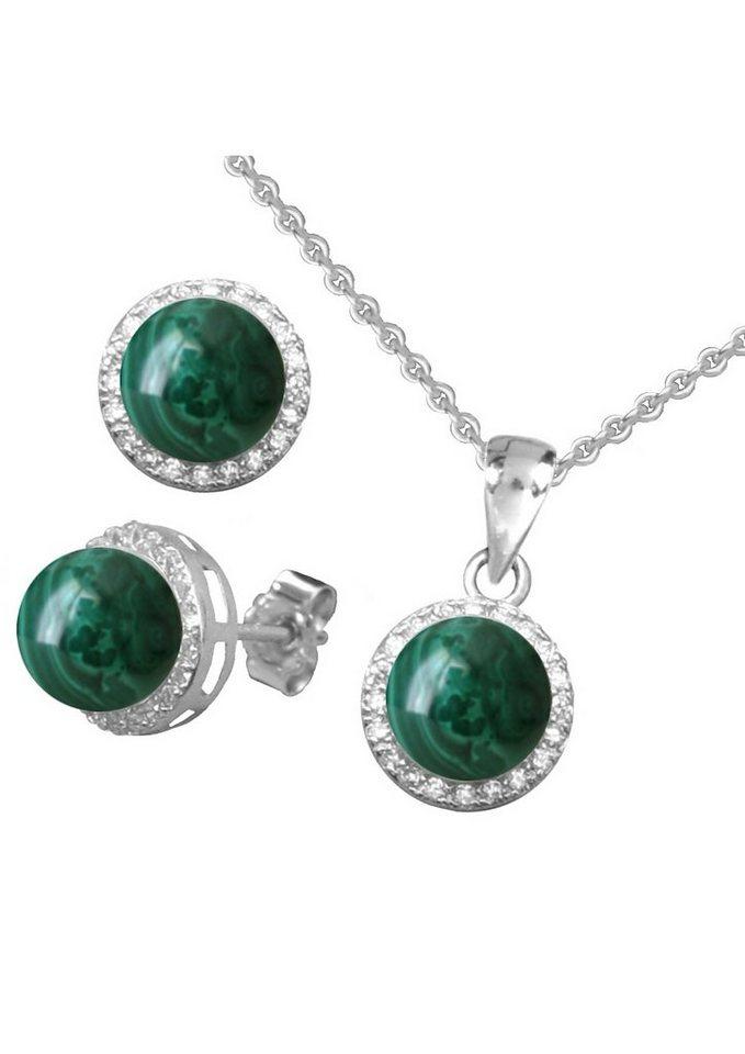 firetti Schmuckset: Ohrstecker und Halskette mit Malachit und Zirkonia (4tlg.) in Silber 925/grün