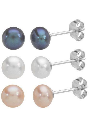 Firetti Ohrstecker-Set »3 Paar Perlenohrringe« (Set, 6-tlg), mit Süßwasserzuchtperlen