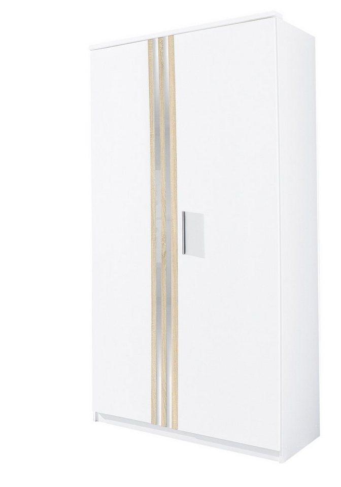 Kleiderschrank in weiß/struktureichefarben hell