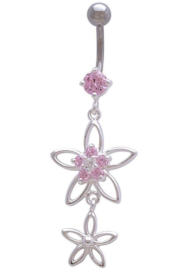 firetti Piercing »Blume / Blüten« mit Zirkonia in Chirurgiestahl/Silber 925