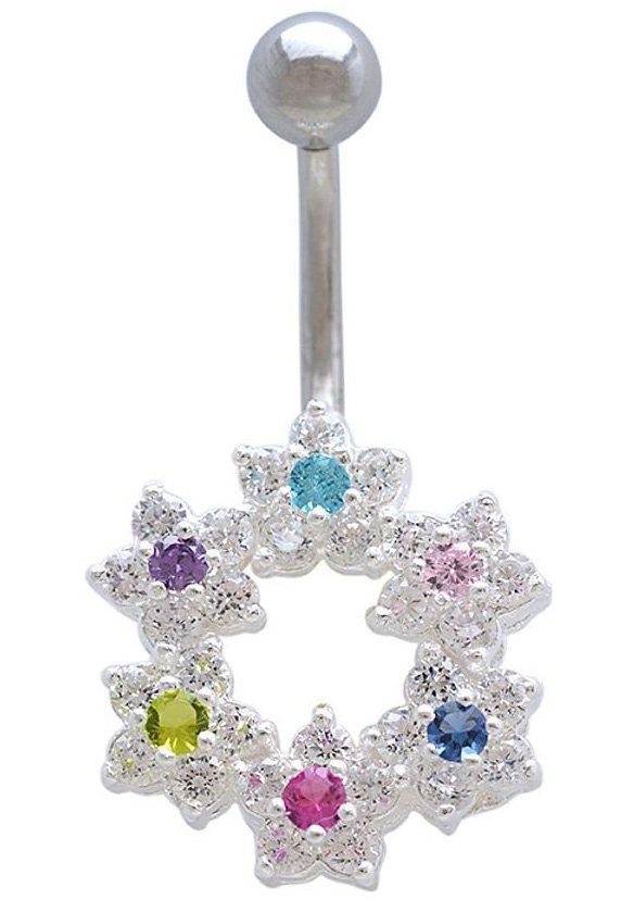 firetti Piercing »Blumen / Blüten« mit Zirkonia in Chirurgiestahl/Silber 925