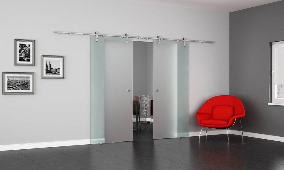 doppel glasschiebet r levidor va satiniert mit muschelgriff online kaufen otto. Black Bedroom Furniture Sets. Home Design Ideas