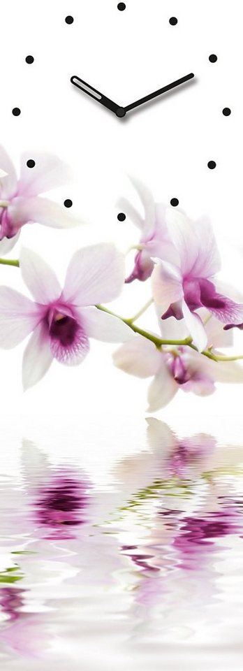 Eurographics, Wanduhr, »White Orchid Reflections«, 20/60 cm in weiß/violett