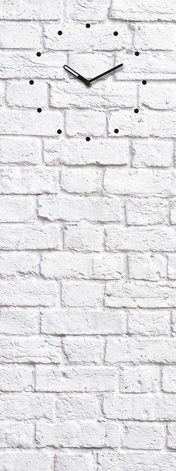 Eurographics, Glasmagnettafel mit Uhr, »White Brick«, 30/80 cm in weiß