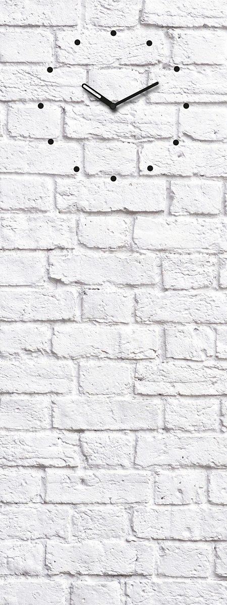 Eurographics, Glasmagnettafel mit Uhr, »White Brick«, 30/80 cm