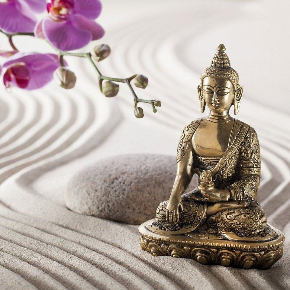 Eurographics, Glasbild, »Buddha In The Sand«, 30/30 cm in grau/gold