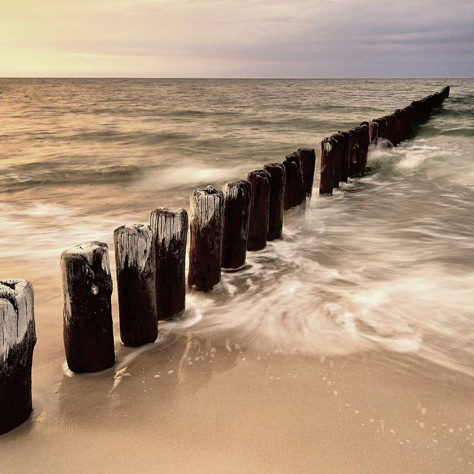 Eurographics, Glasbild, »Sunset & Sea«, 30/30 cm in grau/blau