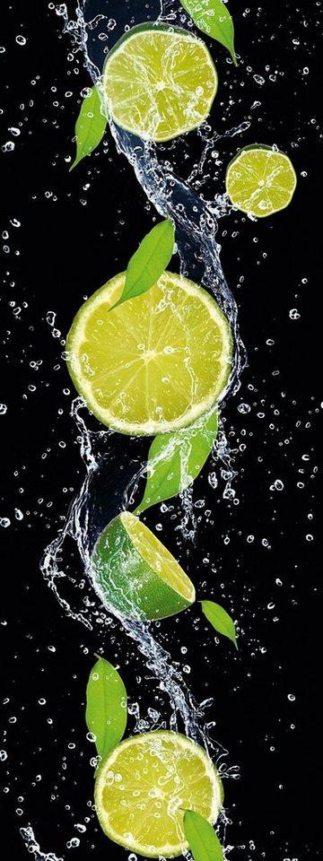 Eurographics, Glasbild, »Splashing Lime«, 30/80 cm in schwarz/grün