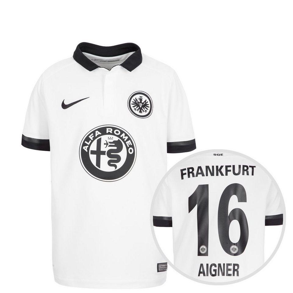 NIKE Eintracht Frankfurt Trikot Away Stadium Aigner 2015/2016 Kinder in weiß / schwarz