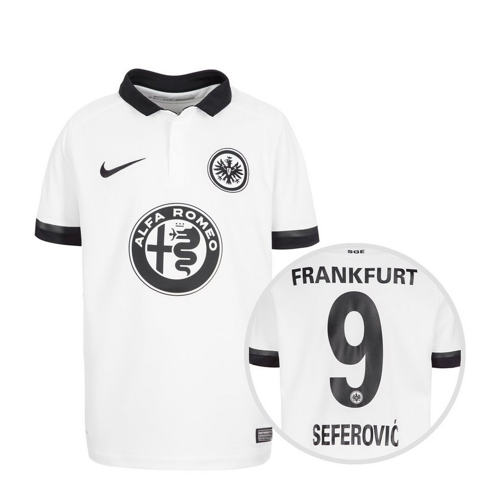 NIKE Eintracht Frankfurt Trikot Away Stadium Seferovic 2015/2016 Kind in weiß / schwarz