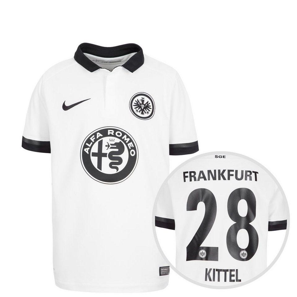 NIKE Eintracht Frankfurt Trikot Away Stadium Kittel 2015/2016 Kinder in weiß / schwarz