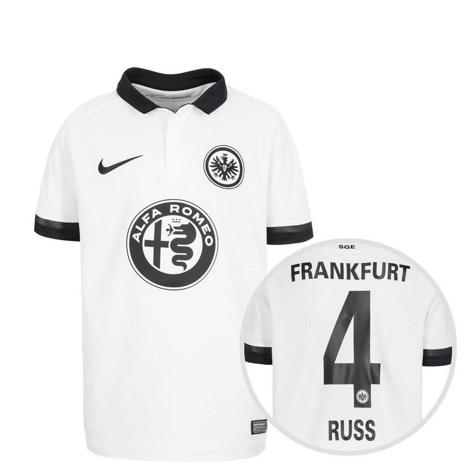 NIKE Eintracht Frankfurt Trikot Away Stadium Russ 2015/2016 Kinder in weiß / schwarz