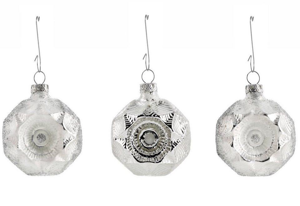 Thüringer Glasdesign Set: TGS-Christbaumschmuck Medaillons, »Eisprinzessin« (6tlg). in weiß-silberfarben