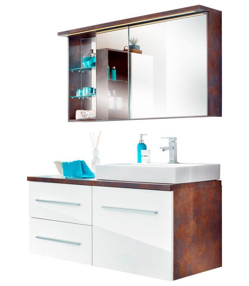 Badmöbel-Set »Brisbane«, Breite 120 cm, 2-tlg. in rostfarben/weiß