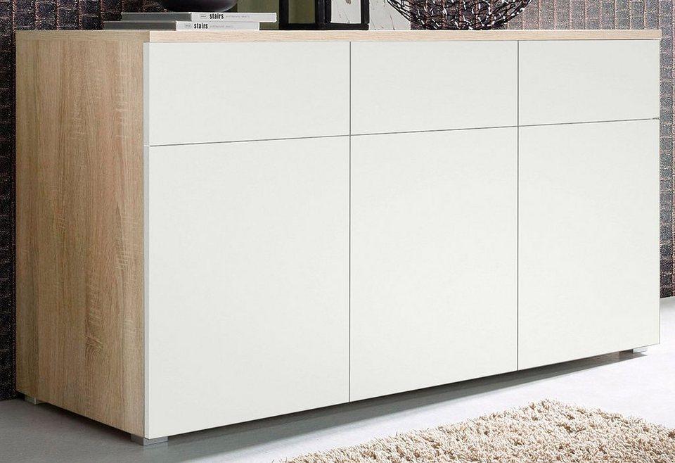 Sideboard, Breite 166 cm in eichefarben sägerau/weiß